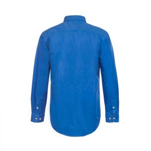 Workcraft-Closed-Front-Long-Sleeve-Shirt-Blue-Back-View