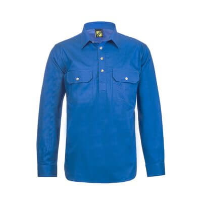 Workcraft-Closed-Front-Long-Sleeve-Shirt-Blue