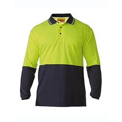 Bisley-long-sleeve-polo-shirt-Yellow-Navy