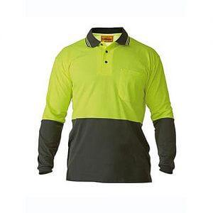 Bisley-long-sleeve-polo-shirt-Yellow-Bottle