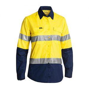 Cool-Bisley-Ladies-Taped-Hi-Vis-Airflow-Ripstop-Shirt-yellow-navy