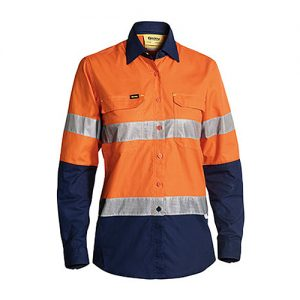 Cool-Bisley-Ladies-Taped-Hi-Vis-Airflow-Ripstop-Shirt-yellow-navy