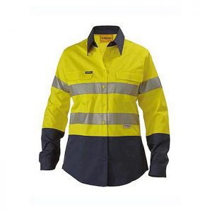 Bisley-Ladies-taped-two-tone-Hi-Vis-light-weight-shirt-Yellow-Navy