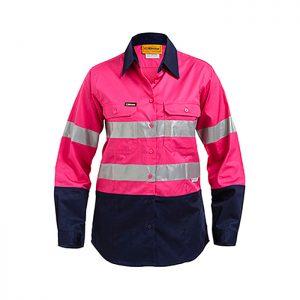 Bisley-Ladies-taped-two-tone-Hi-Vis-light-weight-shirt-Pink-Navy
