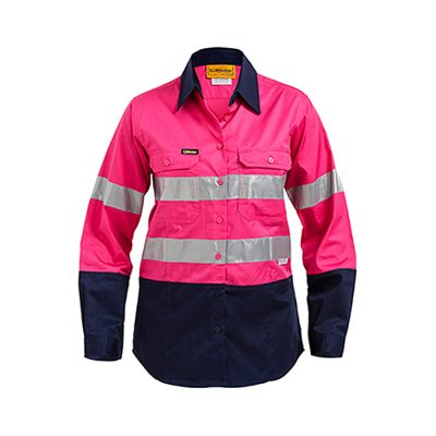 Bisley-Ladies-taped-two-tone-Hi-Vis-light-weight-shirt-Pink-Navy