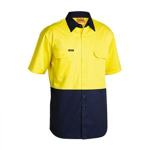 Bisley-Short-Sleeve-Safety-Shirt-Yellow-Navy