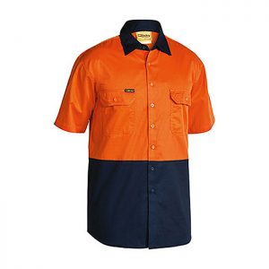 Bisley-Short-Sleeve-Safety-Shirt-Orange-Navy