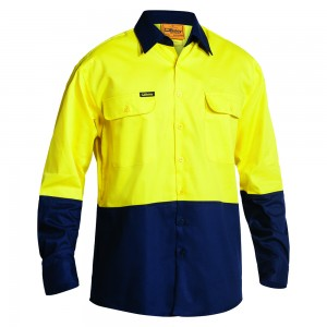 Bisley-2-Toned-HiViz-Day-Use-Shirt-Yellow-Navy