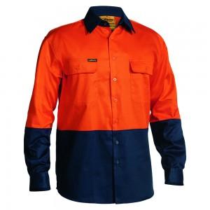 Bisley-2-Toned-HiViz-Day-Use-Shirt-Orange-Navy