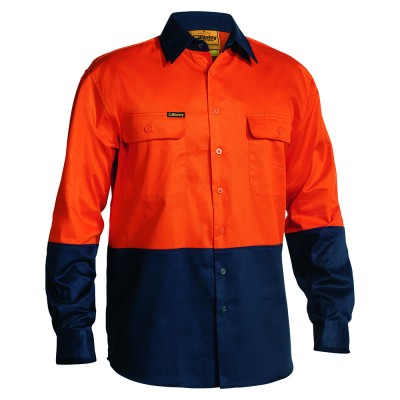Bisley-2-Toned-HiViz-Day-Use-Shirt-Orange-Navy