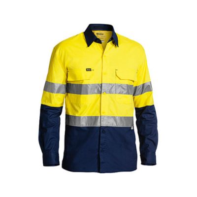 Cool-Bisley-Taped-Hi-Vis-Airflow-ripstop-shirt-Yellow-Navy