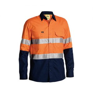 Cool-Bisley-Taped-Hi-Vis-Airflow-ripstop-shirt-Orange-Navy