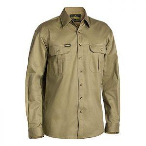 Bisley-original-Drill-Long-Sleeve-Work-Shirt-Khaki