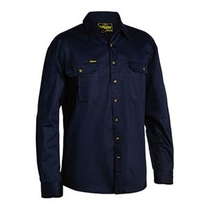 Bisley-original-Drill-Long-Sleeve-Work-Shirt-Navy