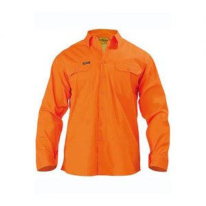 Bisley-Mens-Cool-Lightweight-Gusset-Cuff-Hi-Vis-Drill-Shirt-Long-Sleeve-orange