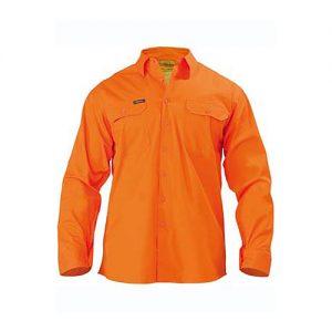 Bisley-Mens-Cool-Lightweight-Gusset-Cuff-Hi-Vis-Drill-Shirt-Long-Sleeve-orange