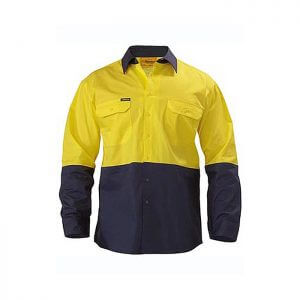 Bisley-Two-Tone-Hi-Vis-Cool-Light-weight-Drill-Long-Sleeve-Shirt-Yellow-Navy