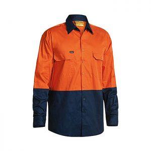Bisley-Two-Tone-Hi-Vis-Cool-Light-weight-Drill-Long-Sleeve-Shirt-Orange-Navy