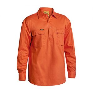 Bisley-drill-work-shirt-closed-front-Orange