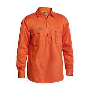 Bisley-drill-work-shirt-closed-front-Orange