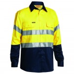 Bisley-2-Toned-HiViz-Day-Night-Use-Shirt-Yellow-Navy