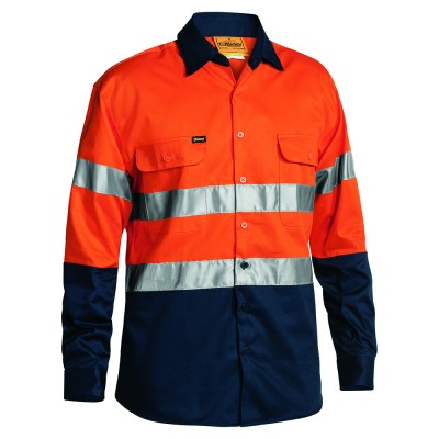 Bisley-2-Toned-taped-HiViz-Day-Night-Use-Shirt-Orange-Navy