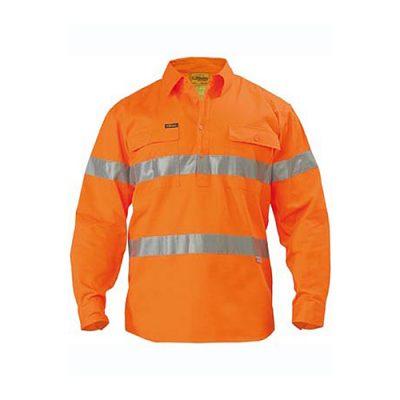 Bisley-Hi-Vis-Taped-Drill-Work-Shirt-Closed-Front-Orange