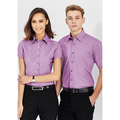 Mens-Corporate-Shirt-Chevron-Style-Short-Sleeve-Models