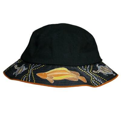 Indigenous Bucket hat Barramundi Design Front View