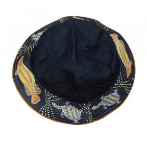 Indigenous Bucket hat Barramundi Design Top View