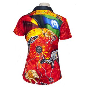 Elite-Indigenous-Ladies-Polo-Red-Dust-Style-Back
