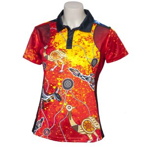 Elite-Indigenous-Ladies-Polo-Red-Dust-Style-Front