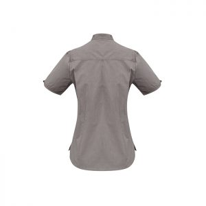 Ladies-Corporate-Shirt-Madarin_Collar-Biz-Collection-Short-Sleeve-Chevron-Graphite-Back