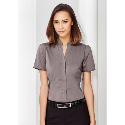 Ladies-Corporate-Shirt-Madarin_Collar-Biz-Collection-Short-Sleeve-Chevron-Model