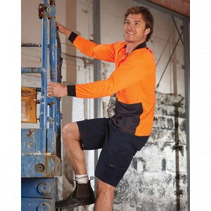 Visitec-Original_Microfibre-Long_Sleeve-Polo-Orange-Navy-Model