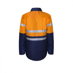Workcraft-Kids-Taped-Hi-Viz-Work-shirt-Orange-Navy