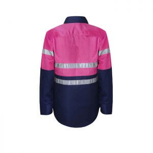 Workcraft-Kids-Taped-Hi-Viz-Work-shirt-Pink-Navy