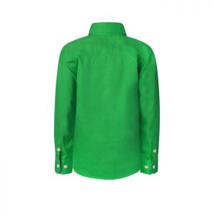 Workcraft-Kids-Lightweight-Closed-Front-Long-Sleeve-Shirt-Green-Back-View