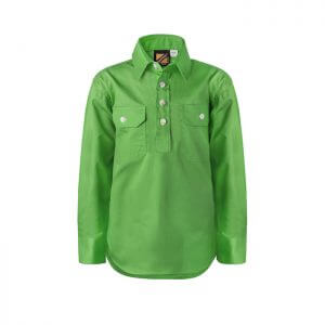 Workcraft-Kids-Lightweight-Closed-Front-Long-Sleeve-Shirt-Green