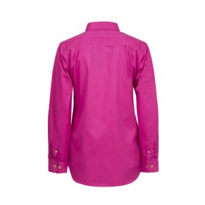 Workcraft-Ladies-Closed-Front-Long-Sleeve-Shirt-Pink-Back-View