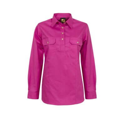 Workcraft-Ladies-Closed-Front-Long-Sleeve-Shirt-Pink