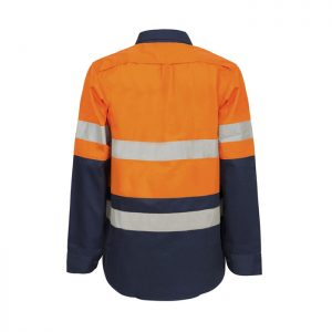 Workcraft-Ladies-Hi-Vis-Long-Sleeve-Taped-Maternity-Shirt-Orange-Navy-Back
