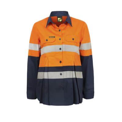 Workcraft-Ladies-Hi-Vis-Long-Sleeve-Taped-Maternity-Shirt-Orange-Navy-Front