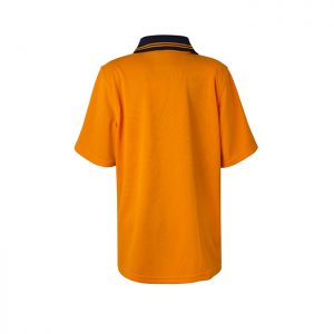 Workcraft-HiVis-Kids-Short-Sleeve-Polo-Shirt-Orange-Navy-Back
