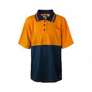Workcraft-HiVis-Kids-Short-Sleeve-Polo-Shirt-Orange-Navy-Front
