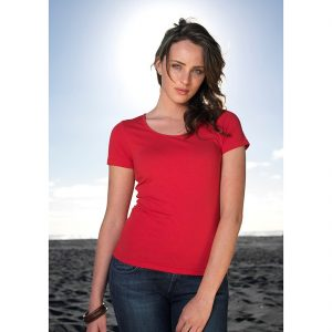 Ladies-Vibe-Scoop-Neck-Tee-Shirt-Model